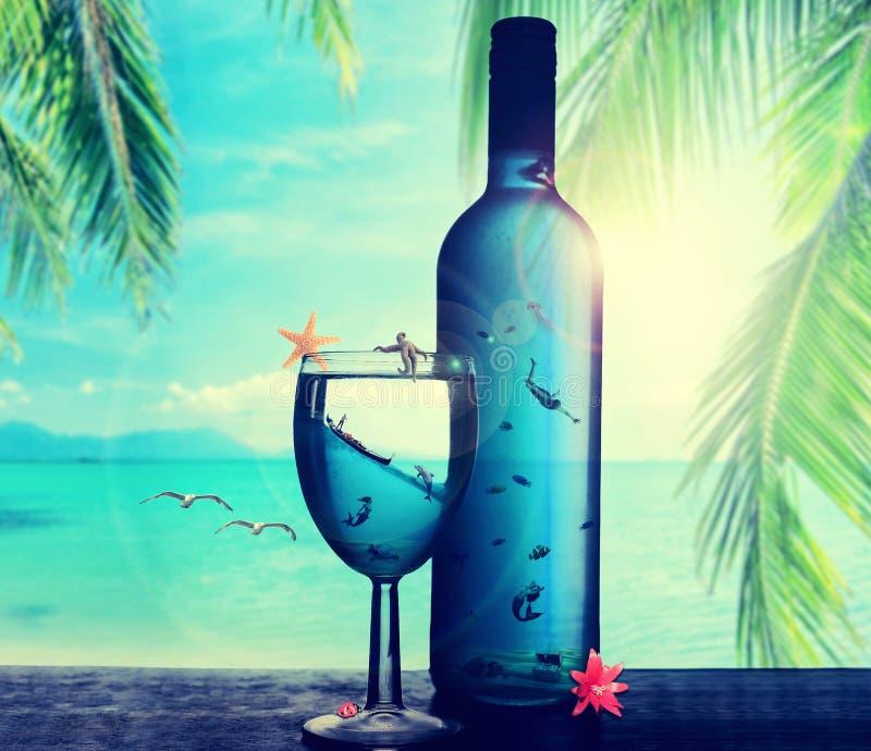 Undervattens- värld för tropisk dröm- paradisö i flaskan stock illustrationer