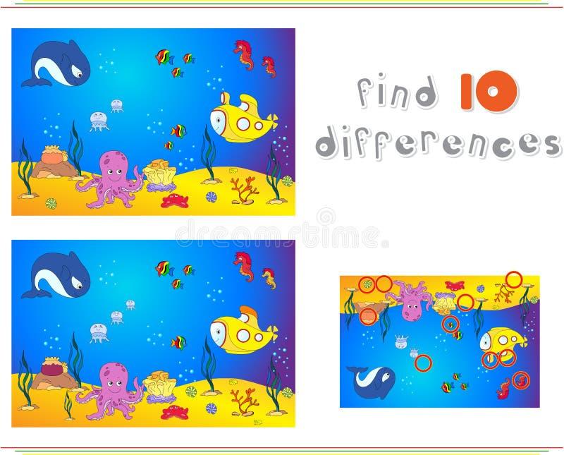 Undervattens- värld, havgolv med bläckfisken, ubåt, val royaltyfri illustrationer