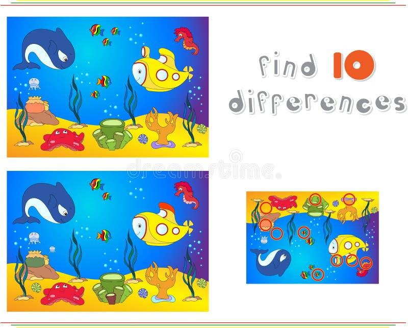 Undervattens- värld, havgolv med bläckfisken, ubåt, val, fi vektor illustrationer