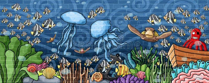Undervattens- värld och undervattens- atmosfärväggmålarfärg royaltyfri illustrationer
