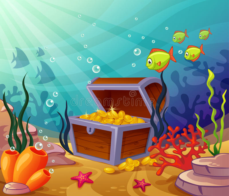Undervattens- världar med piratkopierar skatter royaltyfri illustrationer
