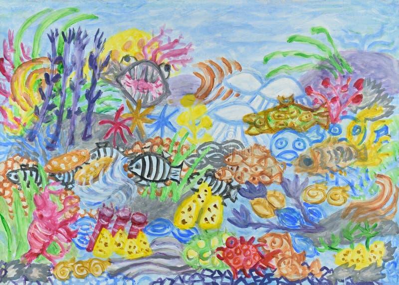 Undervattens- världsabstrakt begreppmålning vektor illustrationer