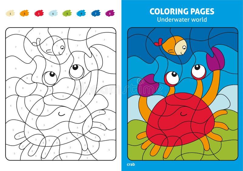Undervattens- världsfärgläggningsida för ungar, fisk och krabba stock illustrationer