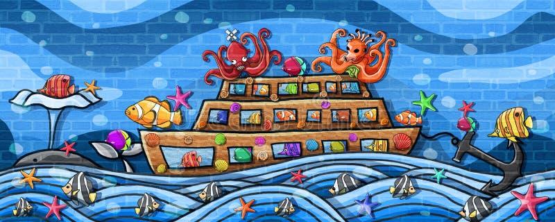 Undervattens- världslopp förbi fartygväggmålarfärg royaltyfri illustrationer