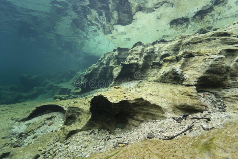 Undervattenslandskap rent vatten arkivfoto
