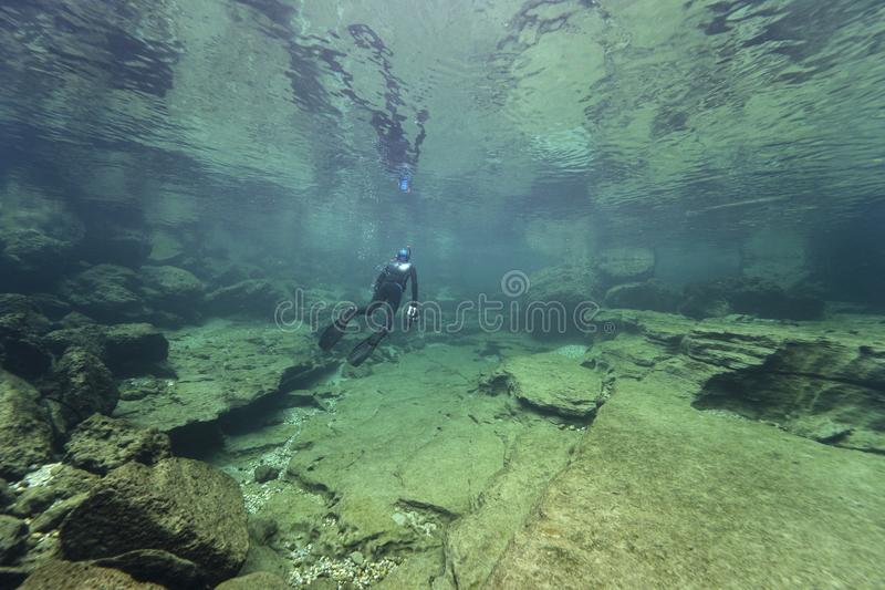 Undervattenslandskap rent vatten royaltyfri foto