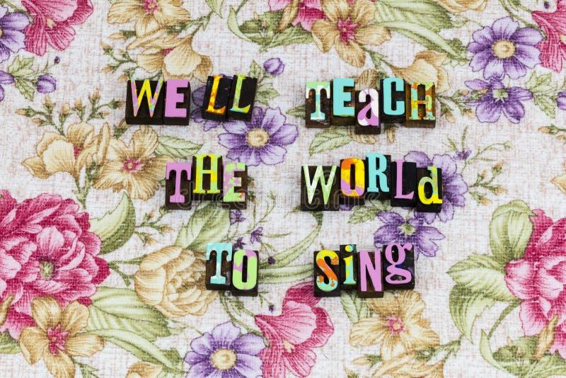 Undervisa världen sjunger musikande arkivbild