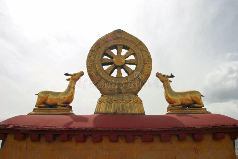 Undervisningar av Buddha på den Jokhang templet i Tibet fotografering för bildbyråer