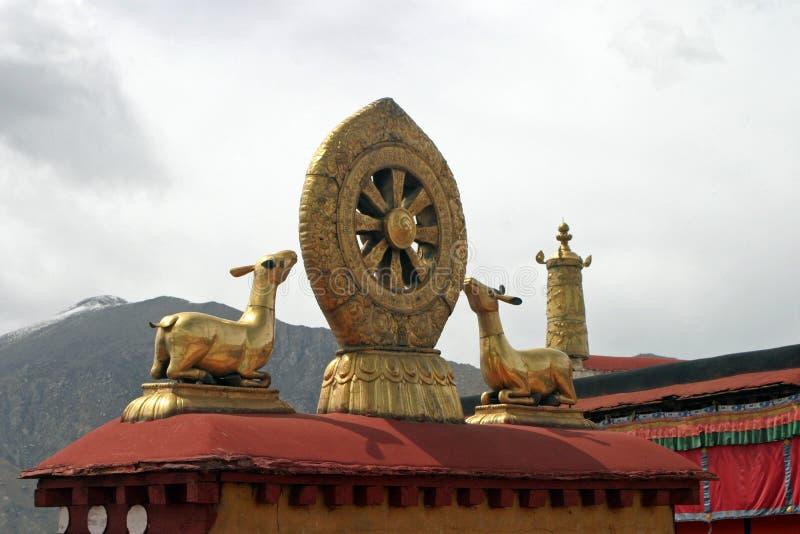 Undervisningar av Buddha på den Jokhang templet i Tibet royaltyfria foton