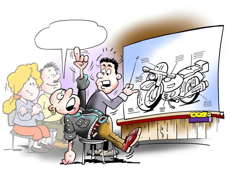 Undervisningstudenter där tar en motorcykelkörningslicens stock illustrationer