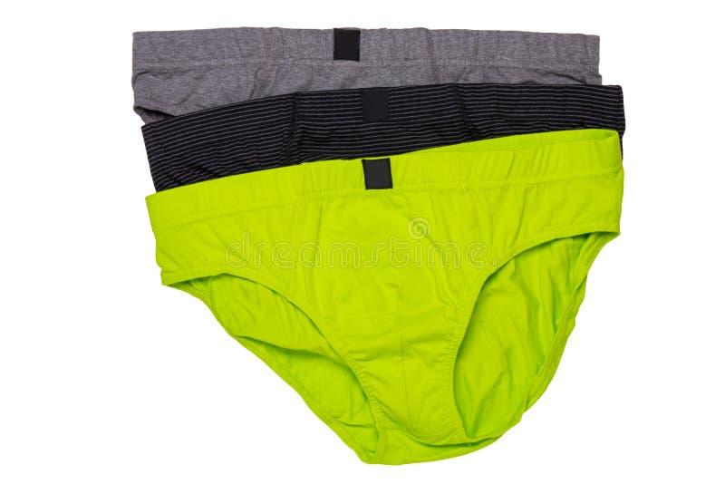 Underware aisló Primer del underware masculino colorido tres o calzoncillos aislados en un fondo blanco ropa stock de ilustración