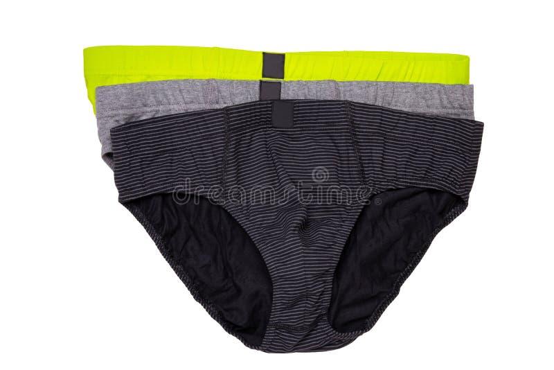Underware aisló Primer del underware masculino colorido tres o calzoncillos aislados en un fondo blanco ropa fotos de archivo libres de regalías