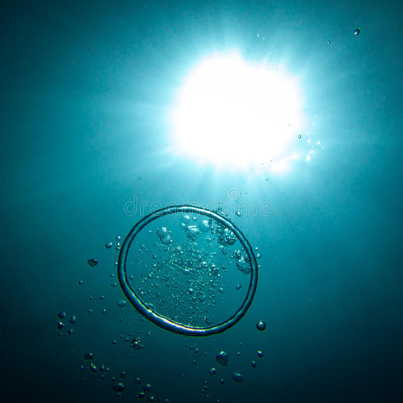 Underwater Air Bubble Ring royalty free stock photo