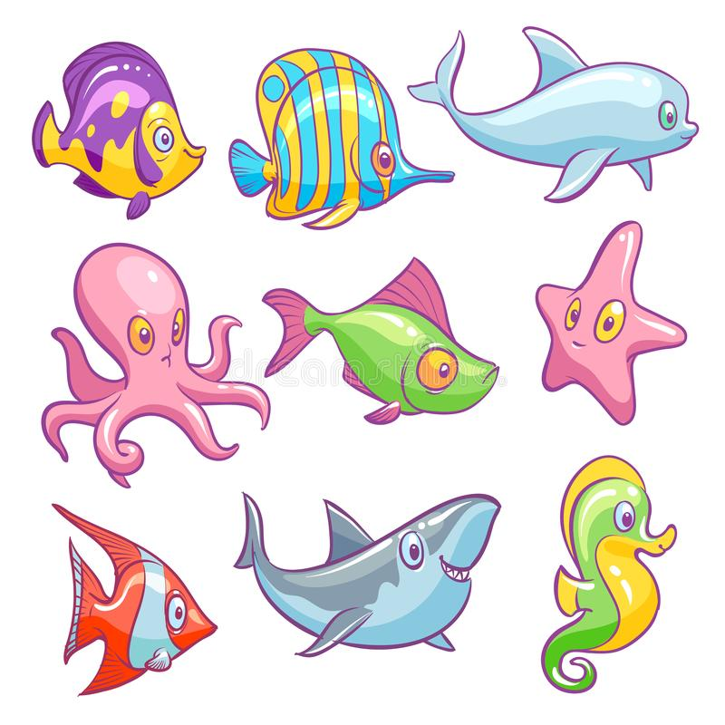 Underwater animals. Cute sea tropical fishes funny ocean underwater animal kids vector isolated set stock illustration