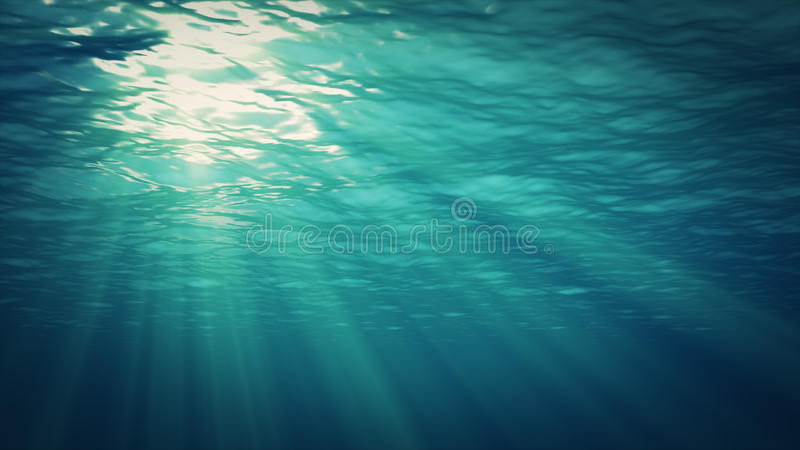 Underwater background. Blue Underwater with ripple and wave lights stock illustration