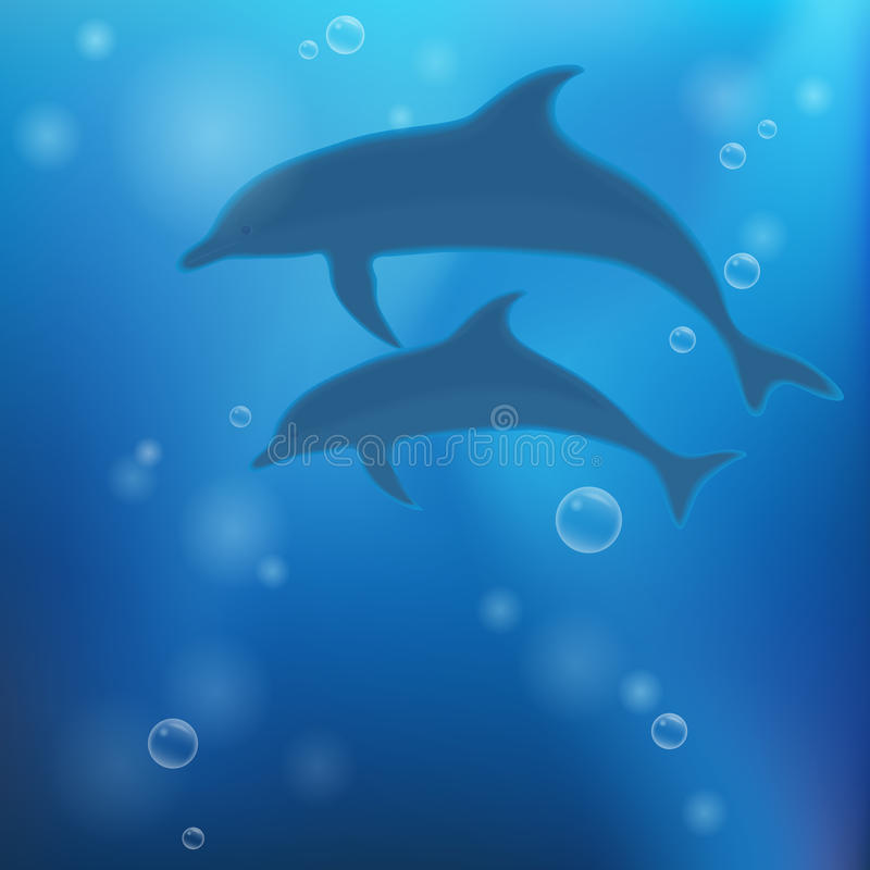 Underwater background with dolphins royalty free illustration