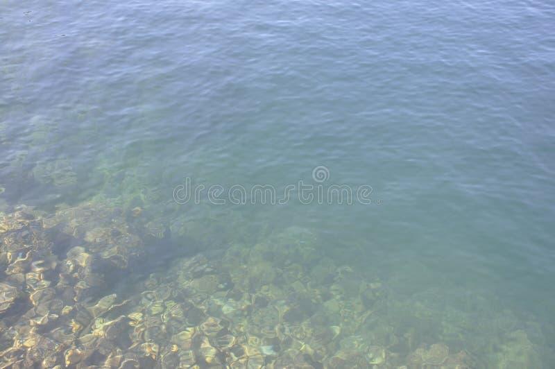 Underwater background of Lake Voulismeni from Agios Nikolaos in Crete island royalty free stock photography