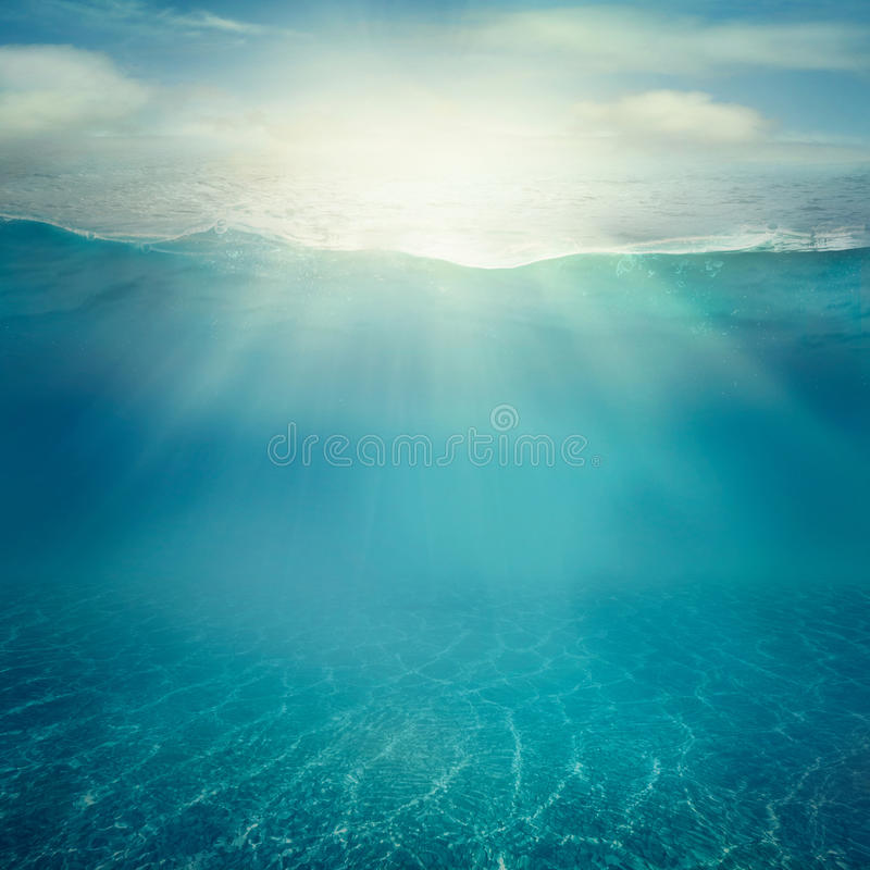 Underwater background. Summer background. Underwater sea view. Ocean water surface