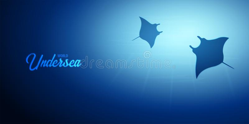 Underwater background with sun rays and silhouette of stingray or manta ray. Deep Ocean banner. Color vector illustration. Underwater background with sun rays stock illustration