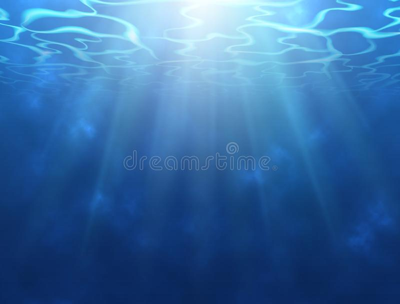 Underwater background with sun rays. Water surface texture. Realistic underwater design with ripple and waves. Vector vector illustration
