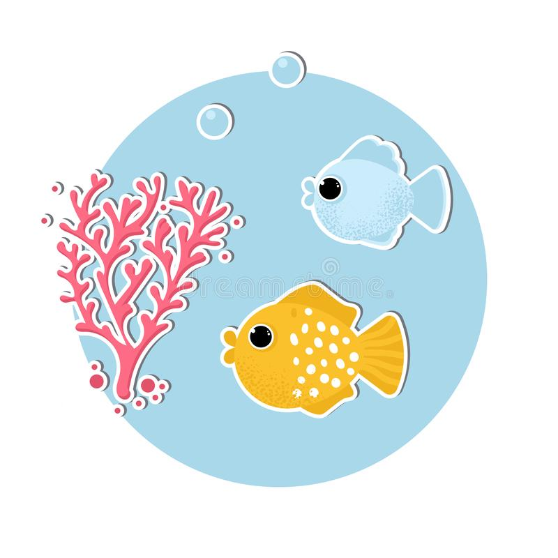 Underwater banner with fishes and corals vector illustration