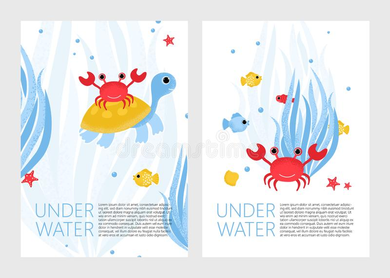 Underwater banner with fishes, crab and corals royalty free illustration
