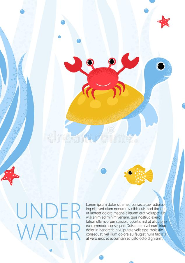 Underwater banner with fishes, crab, turtle vector illustration