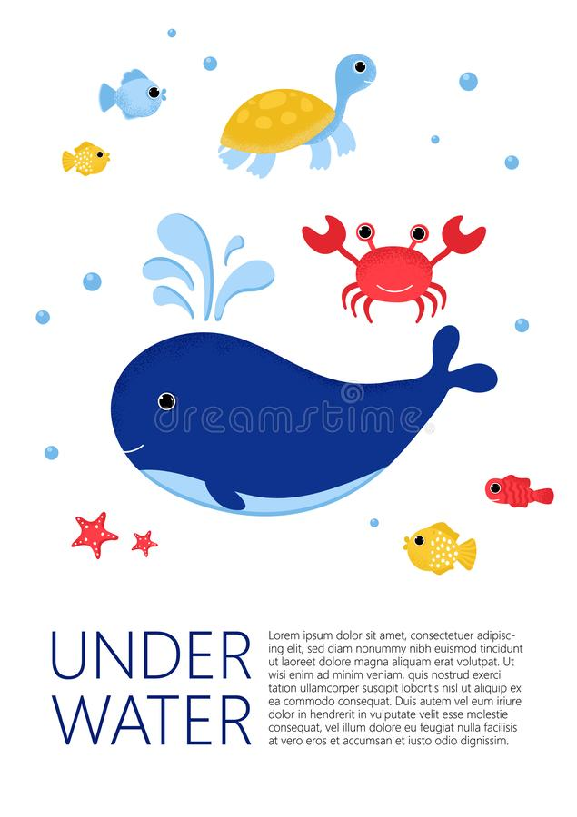 Underwater banner with fishes, crab, turtle, whale stock illustration