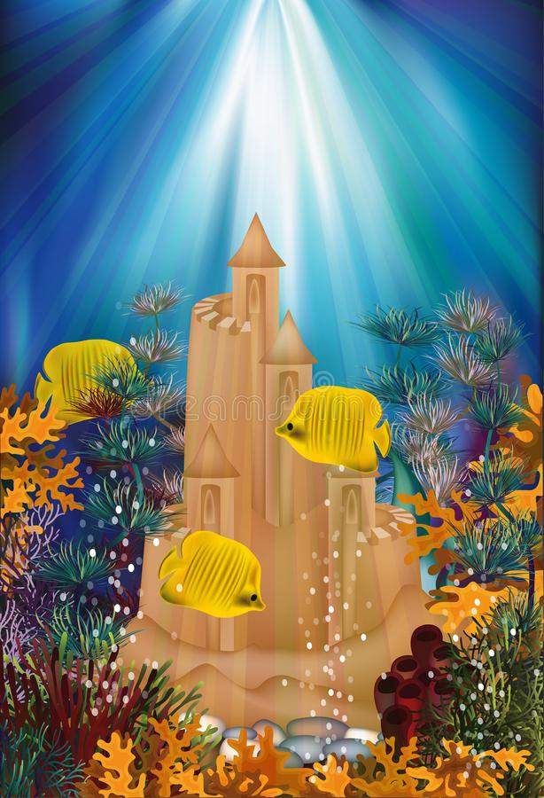 Underwater banner with sand castle, vector vector illustration