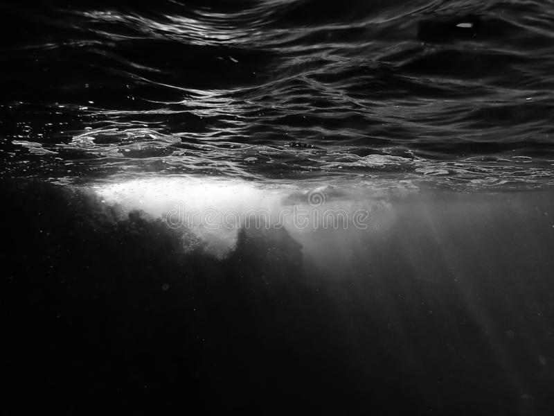 Underwater Black and White Surface Bubbles and Reef stock image