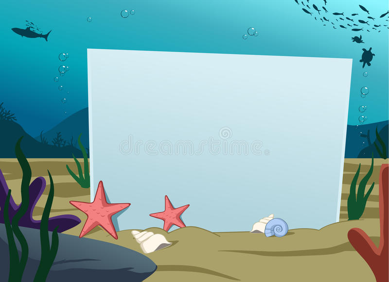 Underwater blank board vector illustration