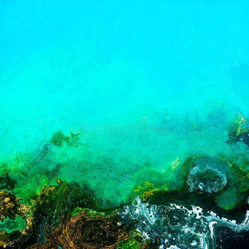 Turqouise underwater bottom depths. Underwater bottom depths. Green layers floral motifs, background illustration stock illustration