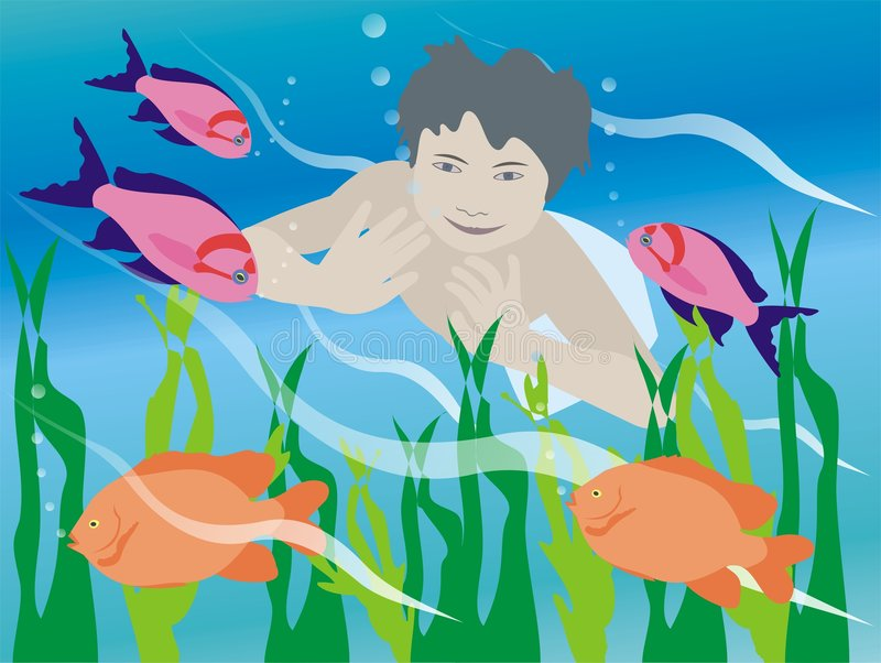 Underwater boy royalty free illustration