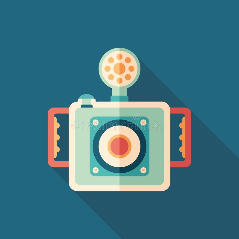 Underwater camera flat square icon with long shadows. vector illustration