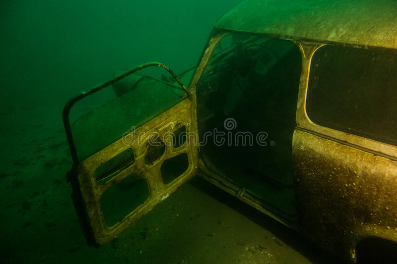 Underwater car wreck stock photography