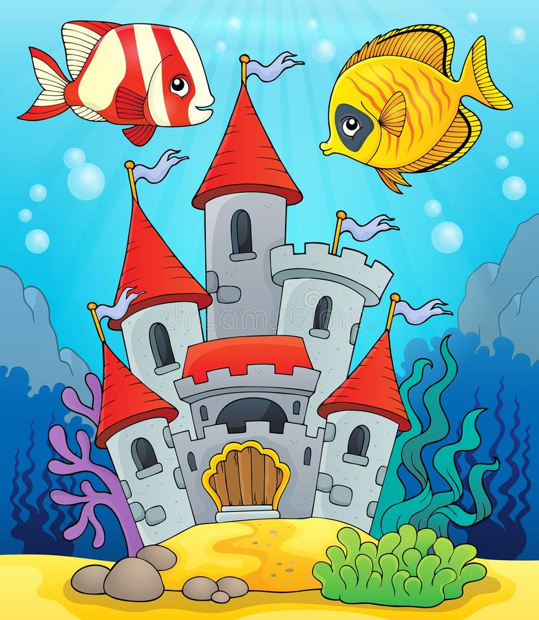 Underwater castle theme 2 vector illustration