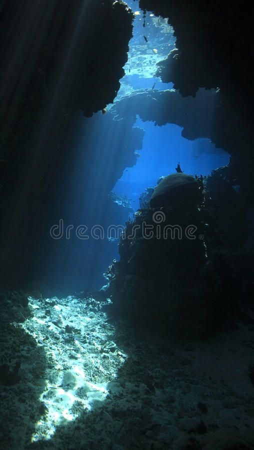 Download Underwater cave stock photo. Image of reef, rays, ocean - 13294842