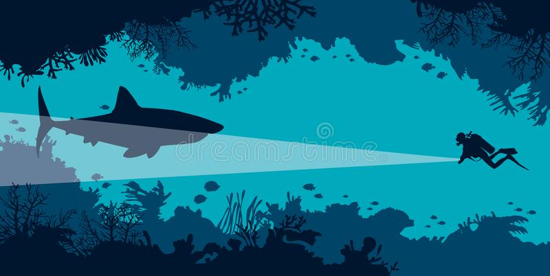 Underwater cave, scuba diver, shark, coral, fish, sea. Underwater coral cave with fishes and silhouette of scuba diver and big shark on a blue ocean. Vector royalty free illustration