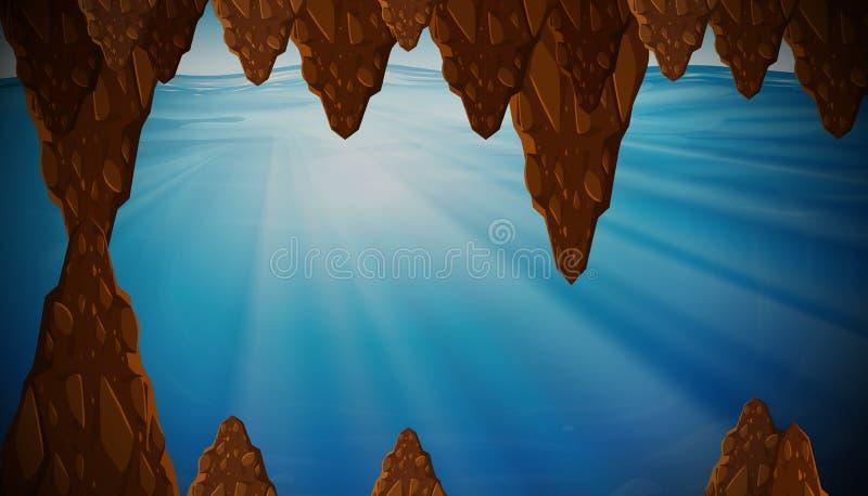 Underwater cavern with sunlight. Illustration vector illustration