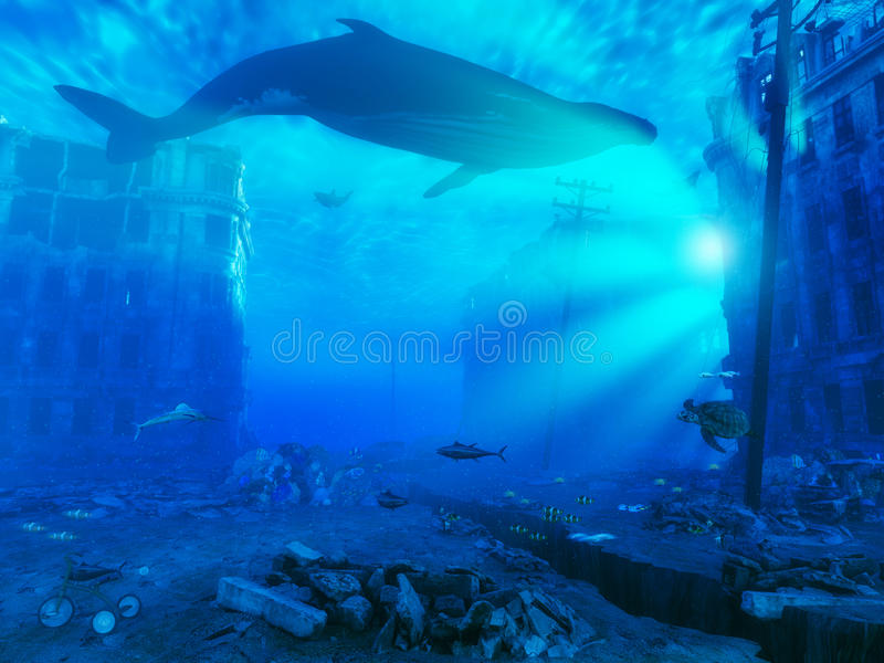 Underwater city vector illustration