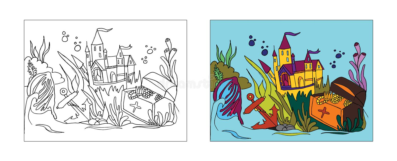 underwater city tale coloring book design monochrome colored versions freehand sketch adult anti stress page doodle