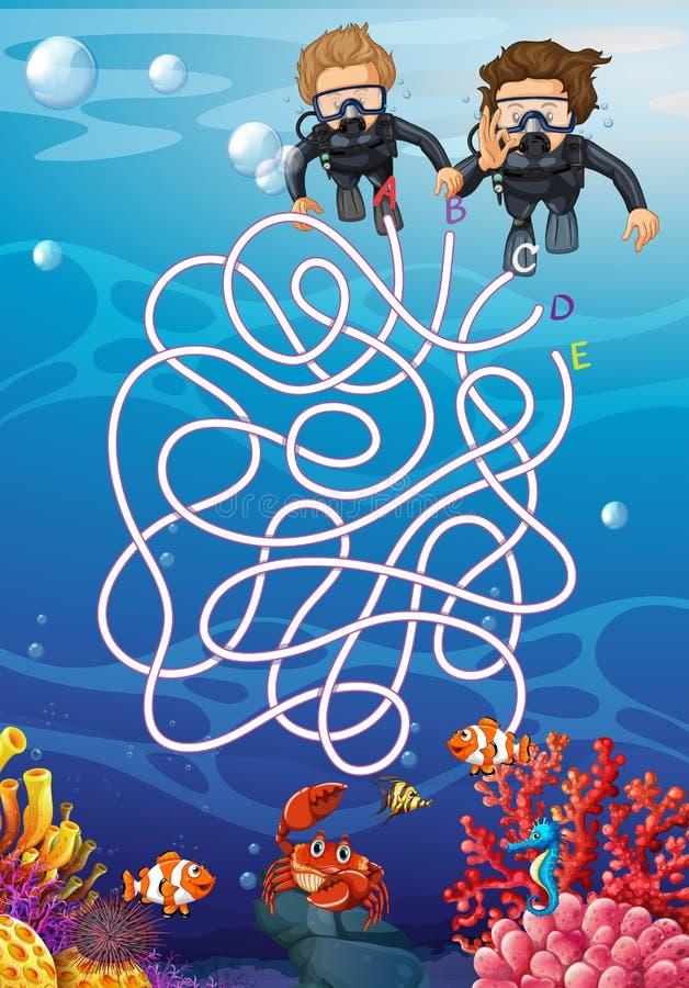 Underwater com conceito do labirinto do mergulhador de mergulhador ilustração stock