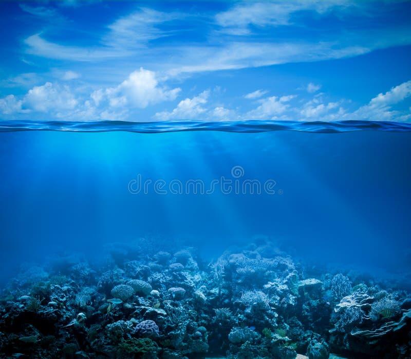 Underwater con l'orizzonte e la superficie dell'acqua fotografia stock