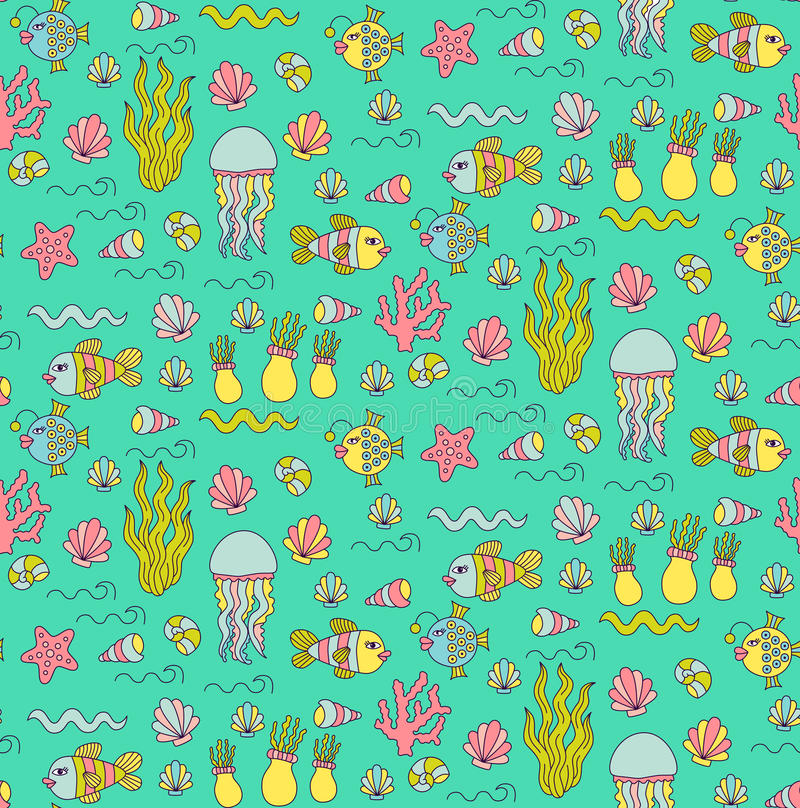 Underwater coolorful sea doodles seamless vector pattern vector illustration