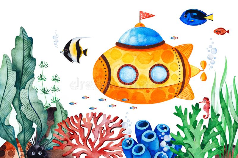 Underwater creatures pre-made greeting card with multicolored corals,seaweeds,fish,seahorse and yellow submarine vector illustration