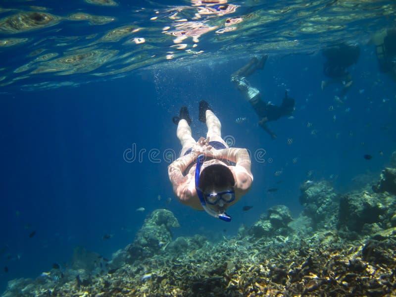 Underwater d'esplorazione fotografia stock