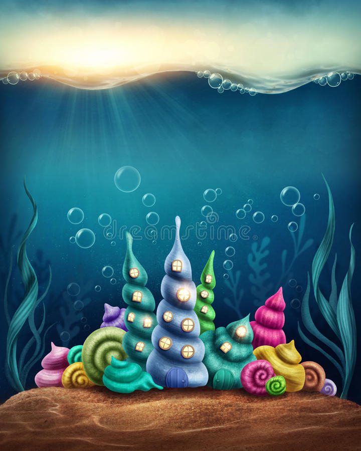 Underwater fantasy kingdom. With shell houses vector illustration