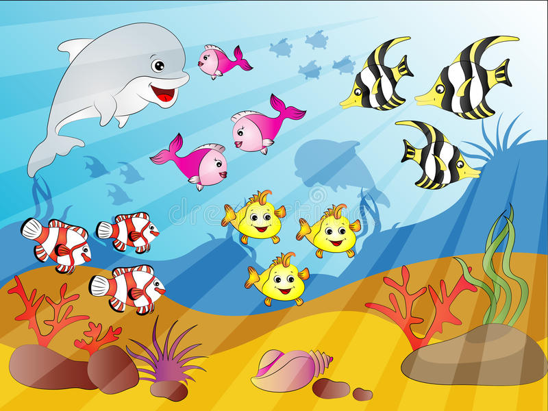Underwater Fish Crowd. Vector Illustration of Underwater Crowd of Fishes