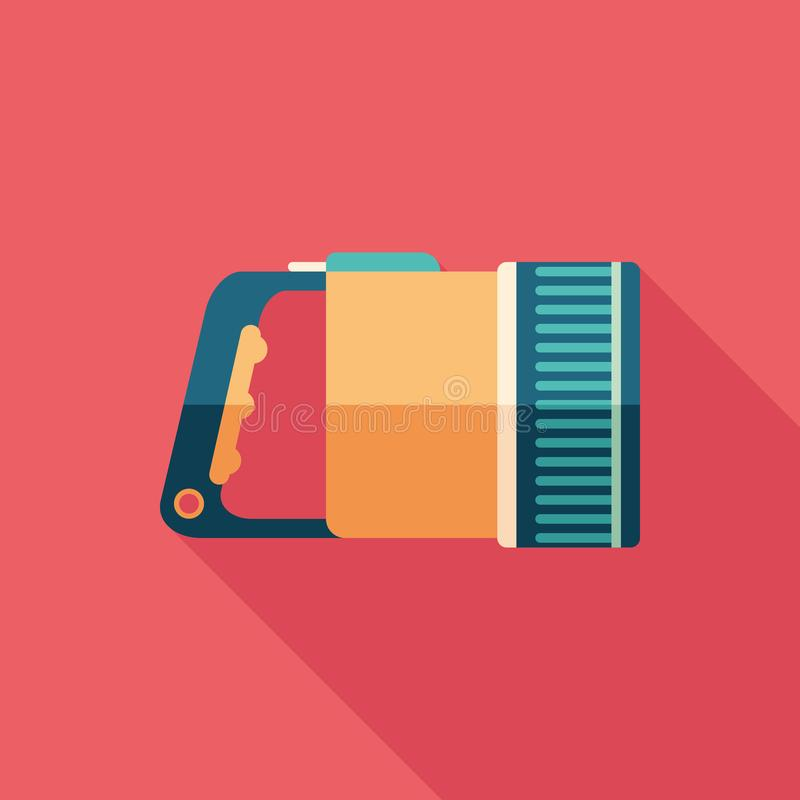 Underwater flashlight flat square icon with long shadows. vector illustration