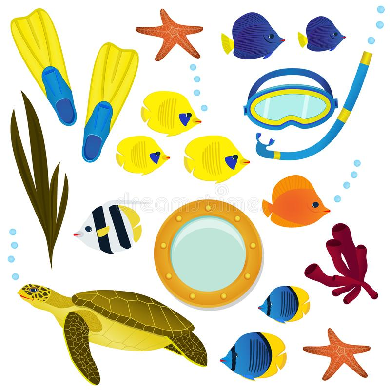 Underwater icon collection on white background. Coral reef colorful fish, turtel and diving equipment set objects. Underwater icon collection on white background royalty free illustration